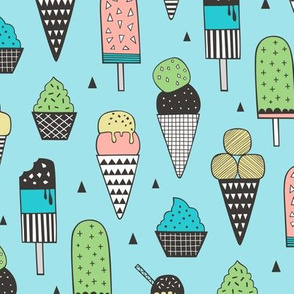 Ice Cream Geometric Triangles on Blue