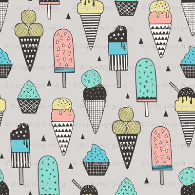 Ice Cream Geometric Triangles on Light Grey