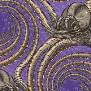 ★ KRAKEN ' ROLL ★ Violet - Large Scale / Collection : Kraken ' Roll – Steampunk Octopus Print