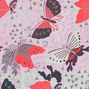 Butterflies pink and grey