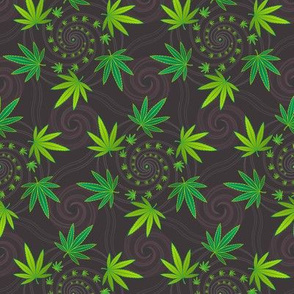 ★ SPIRALING WEED with SEED ★ Green & Dark Gray - Small Scale/ Collection : Cannabis Factory 2 – Marijuana, Ganja, Pot, Hemp and other weeds prints