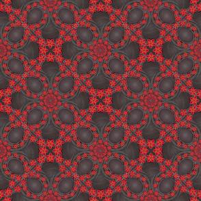 ★ HAWAII PLAID ★ Red & Dark Gray - Small Scale / Collection : Hawaiian Trip - Plumeria & Tiki for Aloha Shirt Print