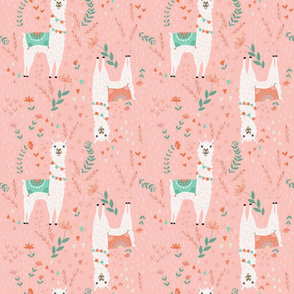 Lovely Llamas on Pink