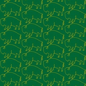 Bison Line Drawing - Official Green & Gold (2 inches)