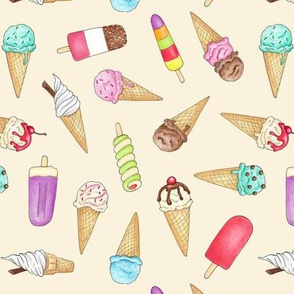 Ice Creams and Lollies on cream