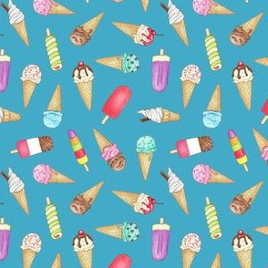 Ice Creams and Lollies on blue
