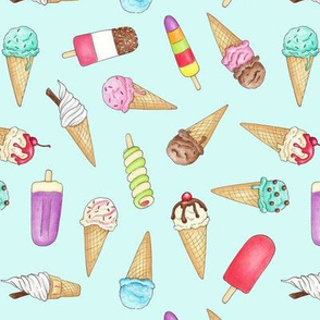Ice Creams and Lollies on pale blue