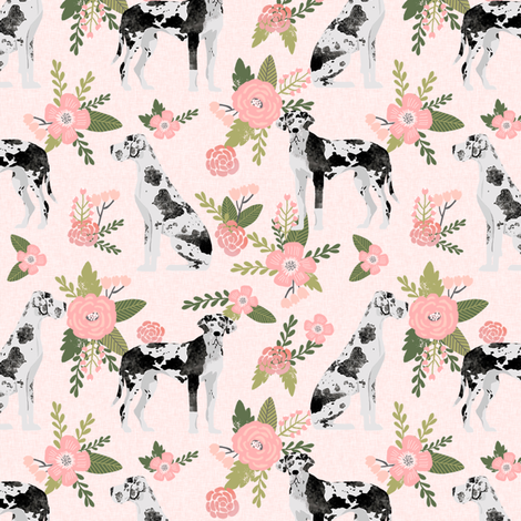 great dane harlequin coat pet quilt d collection coordinate floral fabric by petfriendly on Spoonflower - custom fabric
