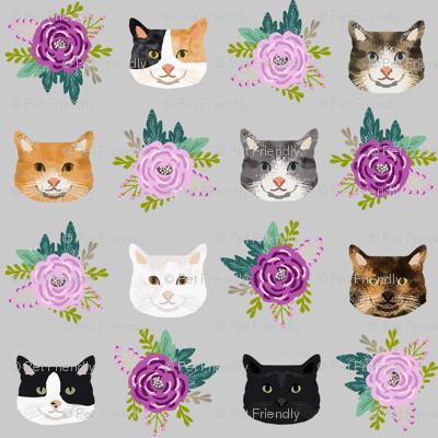 cat floral bouquet cat heads fabric grey