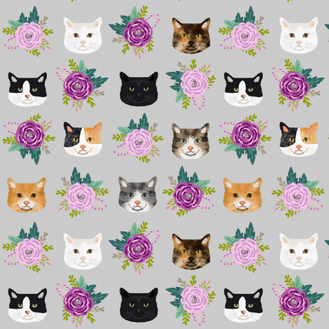 cat floral bouquet cat heads fabric grey fabric by petfriendly on Spoonflower - custom fabric