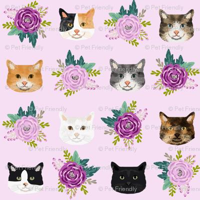 cat floral bouquet cat heads fabric lavender