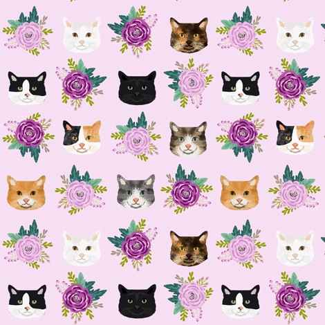 cat floral bouquet cat heads fabric lavender fabric by petfriendly on Spoonflower - custom fabric
