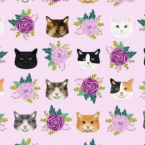 cat floral bouquet cat heads fabric lavender