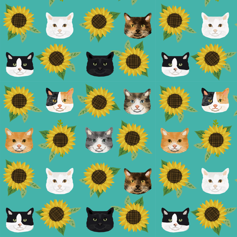 cat floral sunflowers cat heads fabric green fabric by petfriendly on Spoonflower - custom fabric