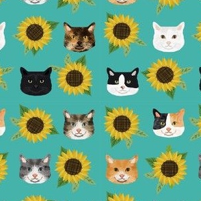 cat floral sunflowers cat heads fabric green