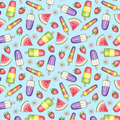 Ice Lollies and Fruit on light blue