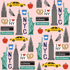 nyc tourist travel usa new york city fabric pink