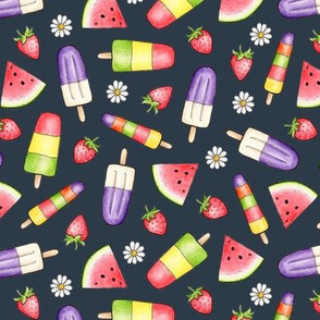 Ice Lollies and Fruit on dark navy grey
