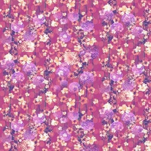 Dark Pink Floral with Puffy Flowers