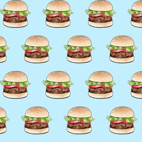 Rows of burgers on pale blue