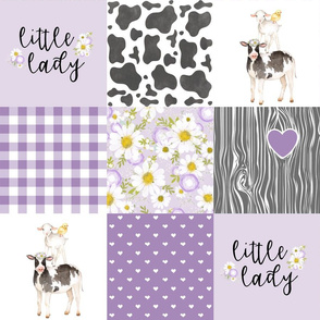 Little Lady//Love you till the cows come home - Wholecloth Cheater Quilt - Purple