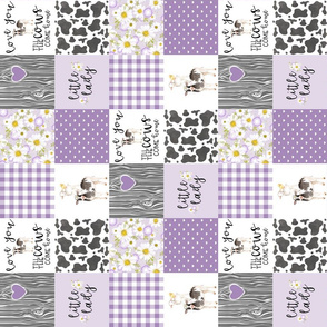 3 Inch Little Lady//Love you till the cows come home - wholecloth cheater quilt - Purple - Rotated