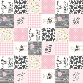 3 inch Little Lady//Love you till the cows come home - wholecloth cheater quilt - Pink - Rotated
