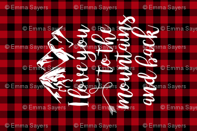 Love you to the mountains and back//Red buffalo plaid - Minky Fat Quarter
