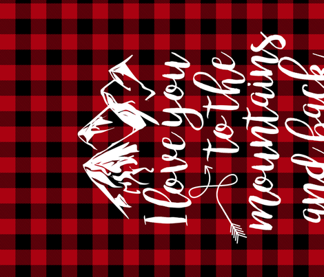 Love you to the mountains and back//Red buffalo plaid - Minky Fat Quarter  fabric by longdogcustomdesigns on Spoonflower - custom fabric