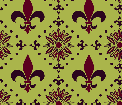 Leaf Ornament green fabric by lorloves_design on Spoonflower - custom fabric