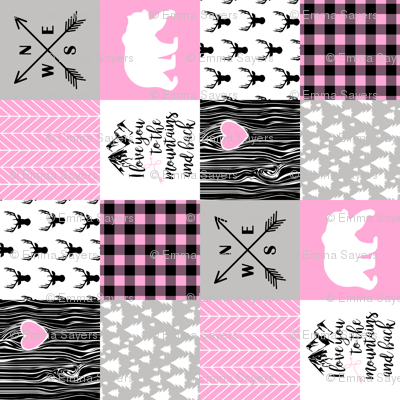 Love you to the mountains and back - Bubble Gum Pink - Wholecloth Cheater Quilt - Rotated
