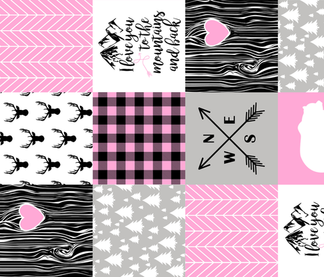 Love you to the mountains and back - Bubble Gum Pink - Wholecloth Cheater Quilt - Rotated fabric by longdogcustomdesigns on Spoonflower - custom fabric