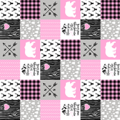 3 Inch Love you to the mountains and back - Bubble Gum Pink - Wholecloth Cheater Quilt - Rotated