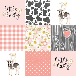 Little Lady//Love you till the cows come home - Coral - Wholecloth Cheater Quilt