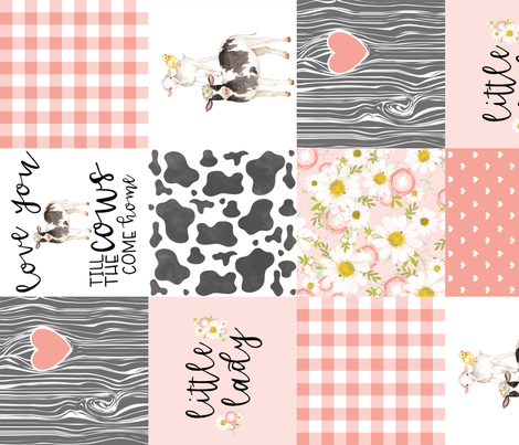 Little Lady//Love you till the cows come home - wholecloth cheater quilt - rotated fabric by longdogcustomdesigns on Spoonflower - custom fabric