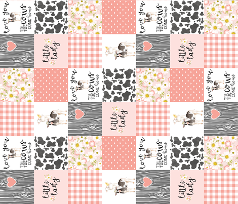 3 inch Little Lady//Love you till the cows come home - wholecloth cheater Quilt - Rotated fabric by longdogcustomdesigns on Spoonflower - custom fabric