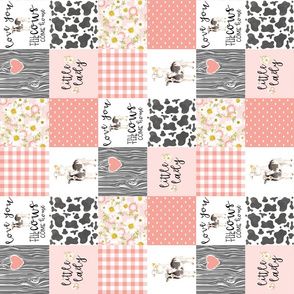 3 inch Little Lady//Love you till the cows come home - wholecloth cheater Quilt - Rotated