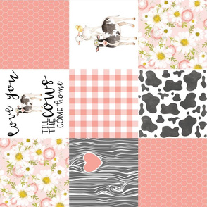 Love you till the cows come home - coral - wholecloth cheater quilt - rotated