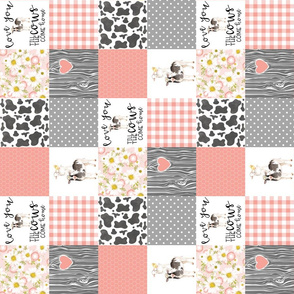 3 inch Love you till the cows come home - coral - wholecloth cheater quilt - rotated