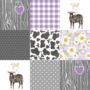 Black Cow/Love you till the cows come home//Farm - Wholecloth Cheater Quilt - Purple