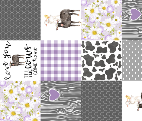 Black Cow/Love you till the cows come home/Farm - Wholecloth Cheater Quilt - Purple - Rotated  fabric by longdogcustomdesigns on Spoonflower - custom fabric