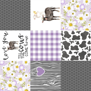 Black Cow/Love you till the cows come home/Farm - Wholecloth Cheater Quilt - Purple - Rotated