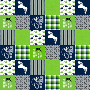 3 inch Football//Hustle hit never quit - Seahawks colors - wholecloth cheater quilt - rotated