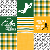 Football//Hustle Hit Never Quit - Packers - Wholecloth Cheater Quilt