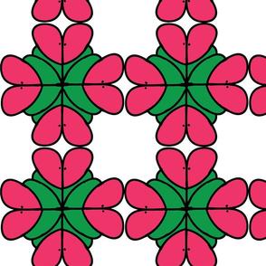 Kissy Flower Grid Pattern