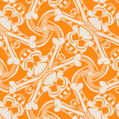 ★ PIRATE SKULL PLAID ★ Orange - Large Scale / Collection : Funky Pirates - Skull and Crossbones Prints 2