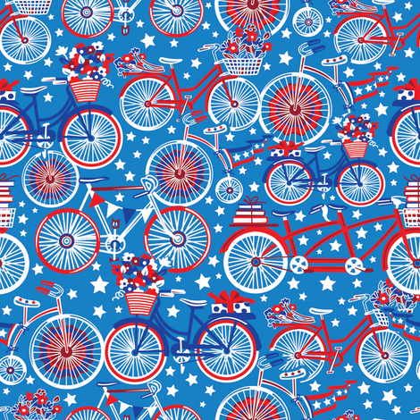 Cycling on July 4th fabric by julistyle on Spoonflower - custom fabric