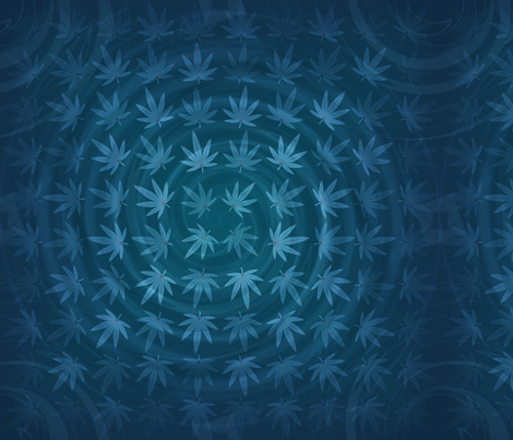 ★ DIZZY WEED ★ Blue / Collection : Cannabis Factory 2 – Marijuana, Ganja, Pot, Hemp and other weeds prints fabric by borderlines on Spoonflower - custom fabric