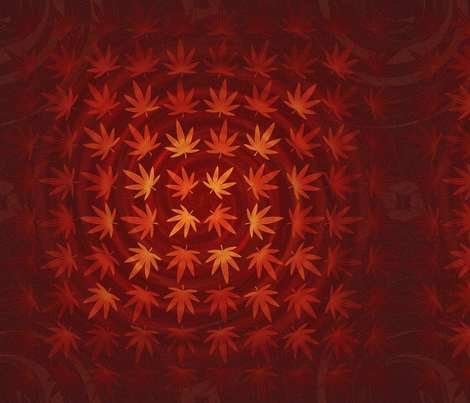 ★ DIZZY WEED ★ Red/ Collection : Cannabis Factory 2 – Marijuana, Ganja, Pot, Hemp and other weeds prints fabric by borderlines on Spoonflower - custom fabric
