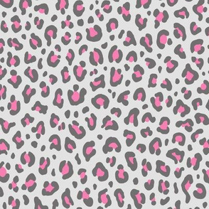 ★ CUSTOM LEOPARD PRINT in GRAY AND PINK ★ Small Scale / Collection : Leopard spots – Punk Rock Animal Print
